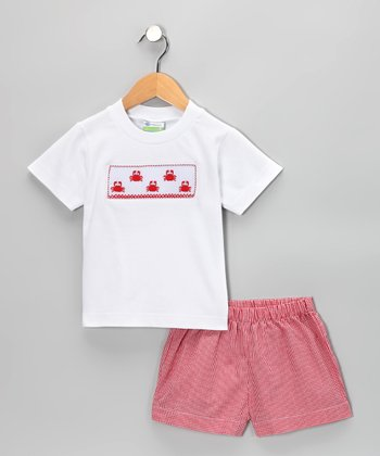 White Crab Tee & Red Gingham Shorts - Infant