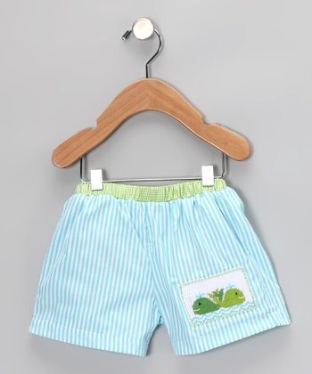 Turquoise Stripe Whale Swim Trunks - Infant