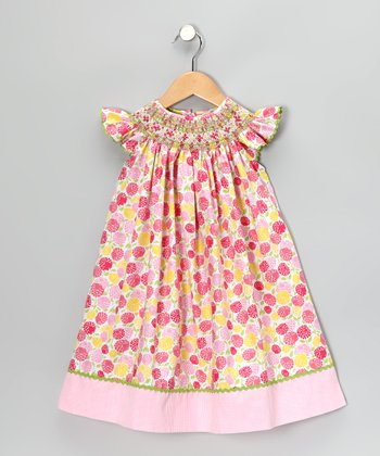 Pink Floral Angel-Sleeve Dress - Infant & Girls