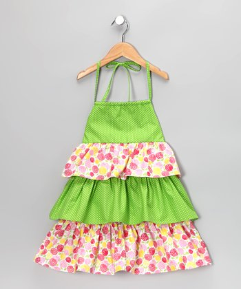 Green Floral Tiered Halter Dress - Toddler & Girls