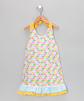 Blue Floral Ruffle Halter Dress - Toddler & Girls