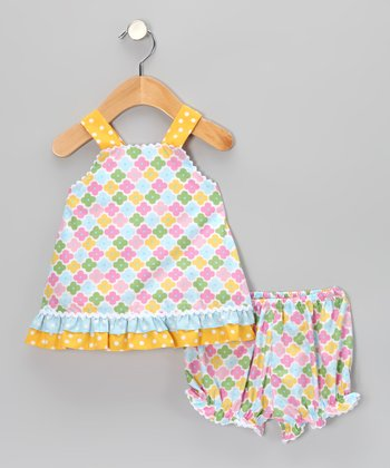 Blue Floral Ruffle Top & Bloomers - Infant