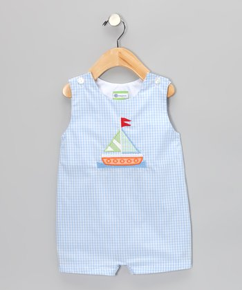 Light Blue Gingham Sailboat Shortalls - Infant