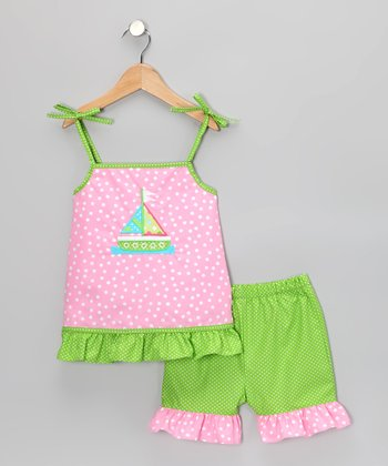 Pink Polka Dot Sailboat Ruffle Top & Shorts - Infant