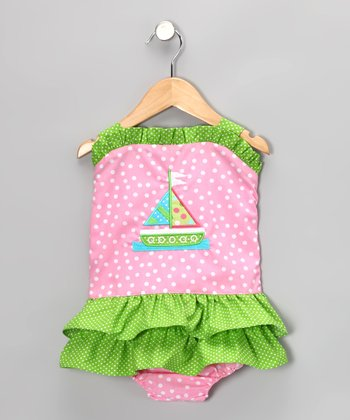 Pink Polka Dot Sailboat Skirted One-Piece - Toddler
