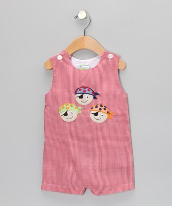 Red Gingham Pirate Shortalls - Infant