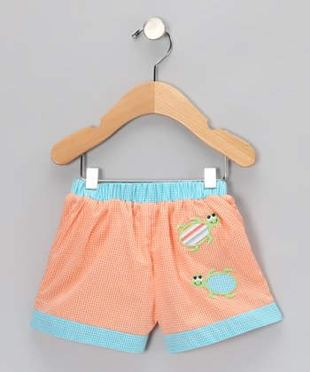 Orange Gingham Turtle Swim Trunks - Infant