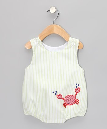 Light Green Stripe Crab Bubble Bodysuit - Infant