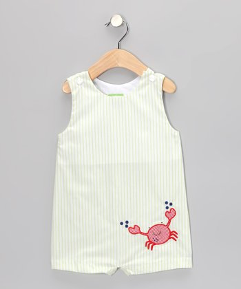 Light Green Stripe Crab Shortalls - Infant