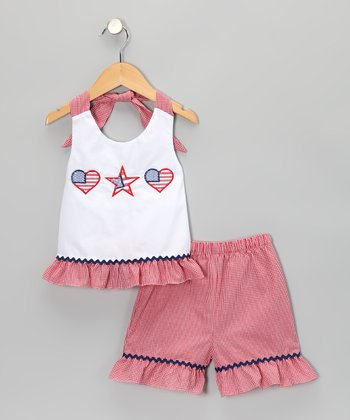 White Americana Halter Top & Shorts - Infant