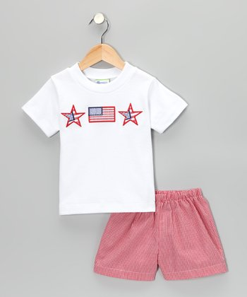 White Fourth of July Tee & Red Gingham Shorts - Infant