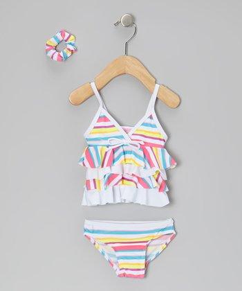 Sweet & Soft Blue Stripe Ruffle Tankini & Hair Tie - Infant