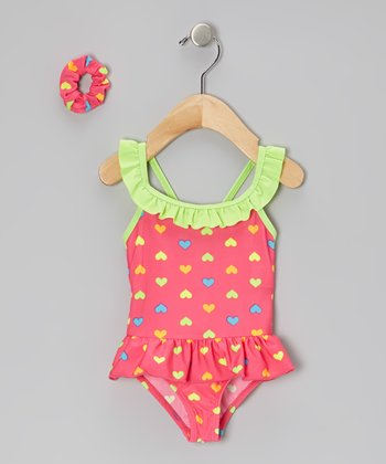 Pink Ruffle Heart Skirted One-Piece & Hair Tie - Infant