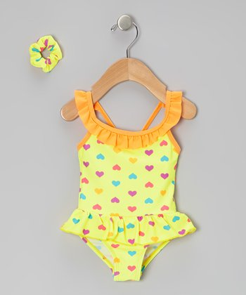Yellow Ruffle Heart Skirted One-Piece & Hair Tie - Infant