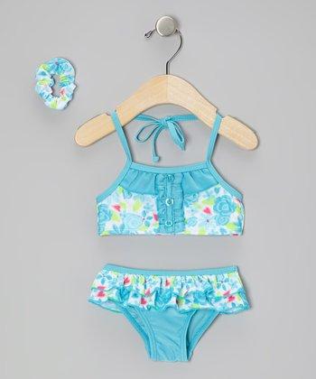 Sweet & Soft Blue Floral Ruffle Skirted Bikini & Hair Tie - Infant