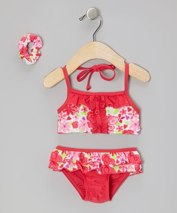 Sweet & Soft Red Floral Skirted Bikini & Hair Tie - Infant