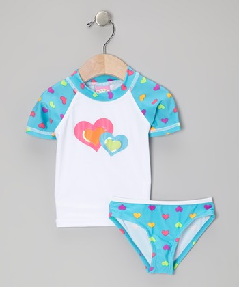Sweet & Soft Blue Twin Hearts Rashguard Set - Infant