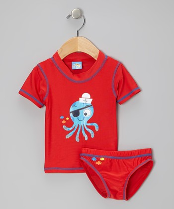 Red Octopus Sailor Rashguard Set - Infant