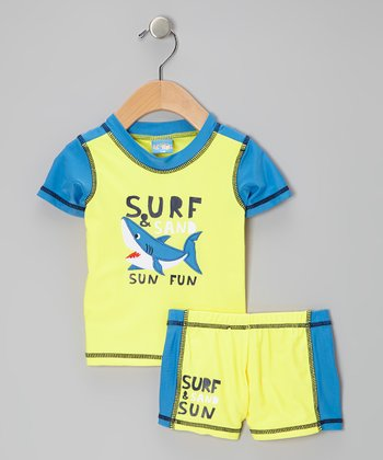 Yellow 'Surf & Sand Sun Fun' Rashguard Set - Infant