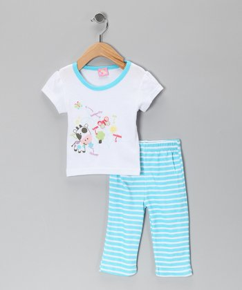 Turquoise Cow Tee & Pants - Infant