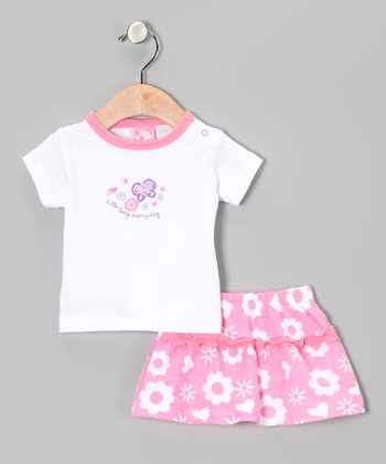 Pink & White Butterfly Tee & Shorts