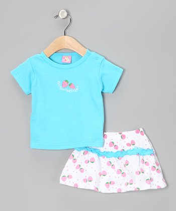 Turquoise 'Strawberry' Tee & Shorts