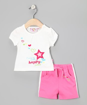 Pink & White 'Happy' Tee & Shorts