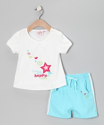 Turquoise & White 'Happy' Tee & Shorts