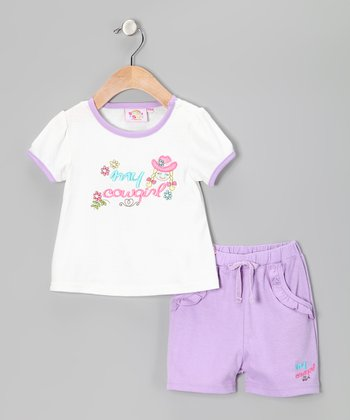 Purple 'My Cowgirl' Tee & Shorts