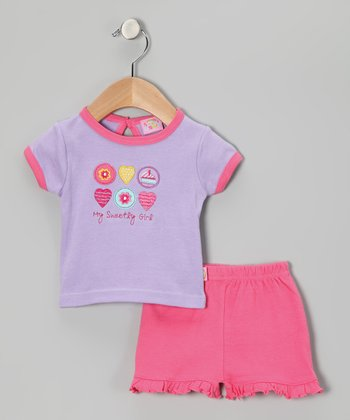 Purple & Pink 'My Sweety' Tee & Shorts