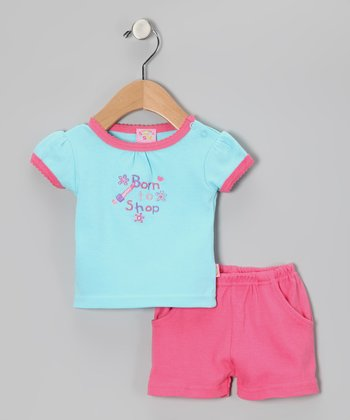 Turquoise & Pink 'Born to Shop' Tee & Shorts