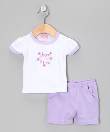 Purple 'Born to Shop' Tee & Shorts
