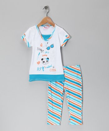 Turquoise Art Tunic & Leggings - Infant