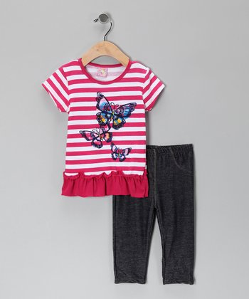 Pink Stripe Butterfly Ruffle Tunic & Jeggings - Infant