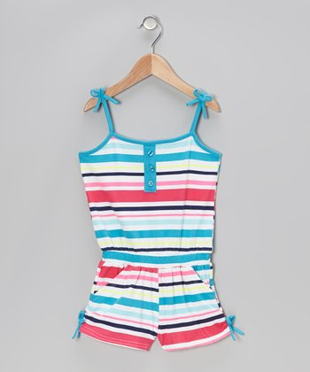 Blue & Pink Stripe Tie Romper - Infant, Toddler & Girls
