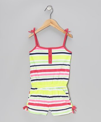 Pink & Yellow Stripe Tie Romper - Infant, Toddler & Girls