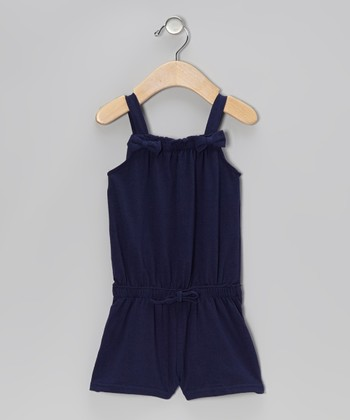Navy Bow Romper - Infant, Toddler & Girls