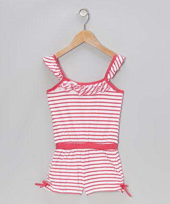 Pink Stripe Ruffle Romper - Infant