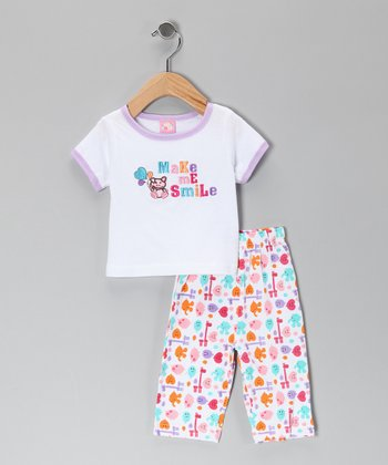 White 'Make Me Smile' Tee & Pants - Infant