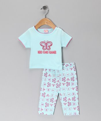 Turquoise Butterfly Tee & Pants - Infant