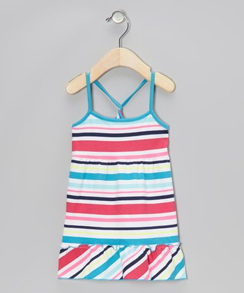 Blue & Pink Stripe Ruffle Dress - Infant, Toddler & Girls