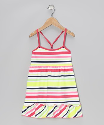 Pink & Yellow Stripe Ruffle Dress - Infant, Toddler & Girls