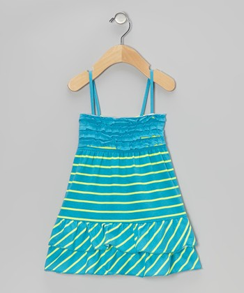 Blue & Yellow Stripe Ruffle Dress - Toddler