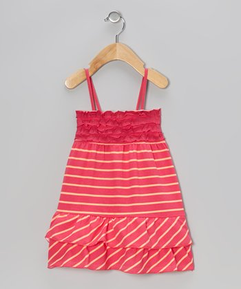 Pink Stripe Ruffle Dress - Infant, Toddler & Girls