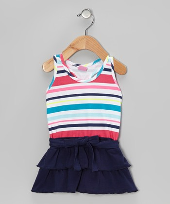 Pink & Navy Stripe Ruffle Dress - Infant, Toddler & Girls