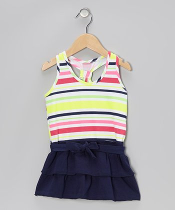 Yellow & Navy Stripe Ruffle Dress - Infant, Toddler & Girls