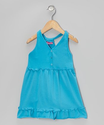 Blue Button Ruffle Dress - Toddler & Girls