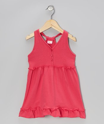 Pink Button Ruffle Dress - Infant, Toddler & Girls
