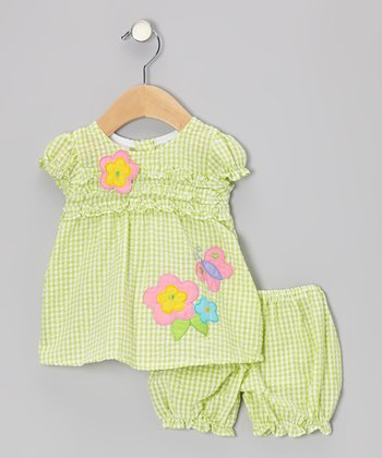 Green Gingham Ruffle Flower Seersucker Dress & Bloomers - Infant
