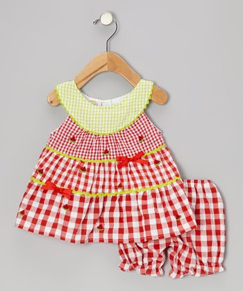Red Gingham Watermelon Seersucker Dress & Bloomers - Infant